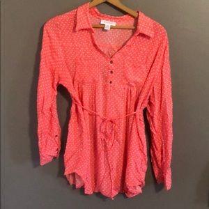 Motherhood Maternity polka dot blouse shirt pink L